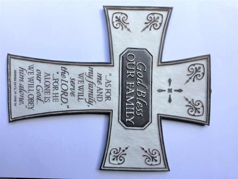 RESIN CROSS - GOD BLESS OUR FAMILY.CHRISTIAN GIFT STORE SYDNEY