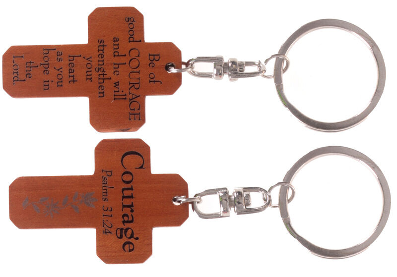 MAHOGANY CROSS KEYRINGS - COURAGE