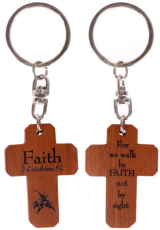 MAHOGANY CROSS KEYRINGS - FAITH christian gift store sydney