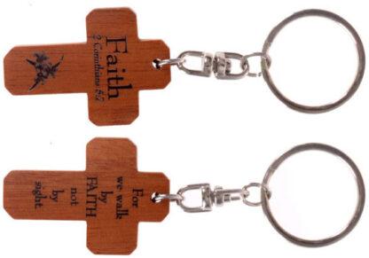 MAHOGANY CROSS KEYRINGS - FAITH christian gift store sydney