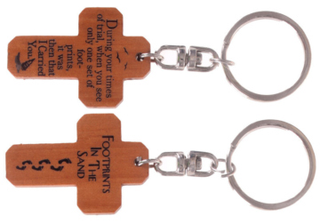 MAHOGANY CROSS KEYRINGS - FOOTPRINTS