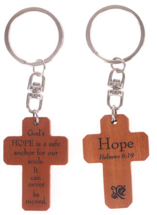MAHOGANY CROSS KEYRINGS - HOPE