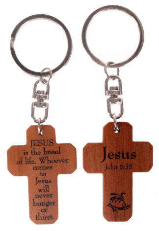 MAHOGANY CROSS KEYRINGS - JESUS