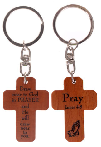 MAHOGANY CROSS KEYRINGS - PRAY