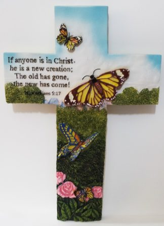 RESIN CROSS - BUTTERFLY SMALL
