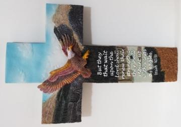 RESIN CROSS - EAGLE SMALL