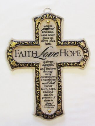 RESIN CROSS - FAITH LOVE HOPE