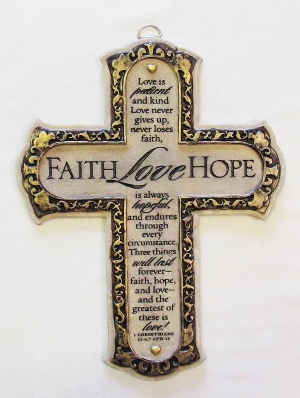 RESIN CROSS - FAITH LOVE HOPE