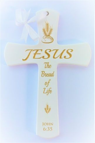 WOODEN CROSS - BREAD OF LIFE