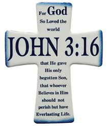 Ceramic Cross Wall Plaque-John 3-16, Blue-White