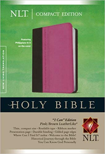 Compact Edition Bible NLT, TuTone (LeatherLike, Pink Brown) Imitation Leather – November 1, 2014