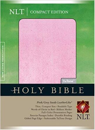 Compact Edition Bible NLT, TuTone (Red Letter, LeatherLike, Pink Grey Suede) Imitation Leather –