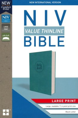 NIV Value Thinline Bible Large Print Blue (Black Letter Edition)