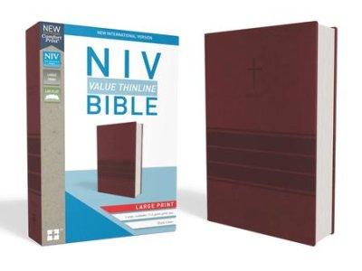NIV Value Thinline Bible Large Print Burgundy Imitation Leather