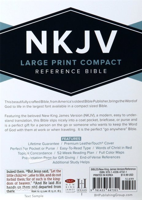 NKJV Large Print Compact Reference Bible Brown Red Letter Edition