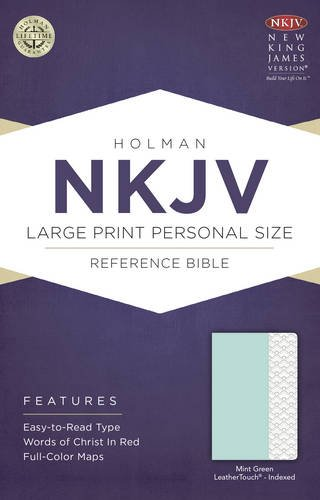 NKJV Large Print Personal Size Indexed Reference Bible Mint Green (Red Letter Edition)