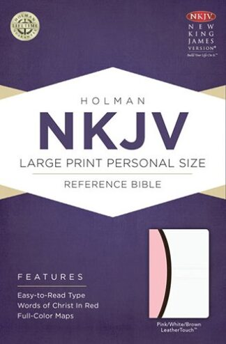 NKJV Large Print Personal Size Reference Bible, Pink.Brown.White LeatherTouch
