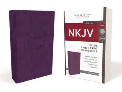 NKJV, Value Thinline Bible, Large Print, Leathersoft, Purple, Red Letter Edition, Comfort Print Imitation Leather – Large Print