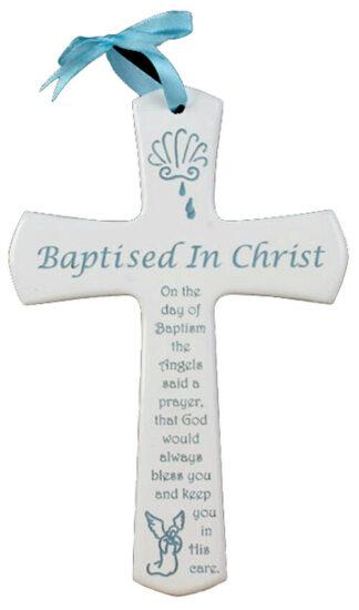 Cross - Baptism (Blue) 15cm high - C15W 361B