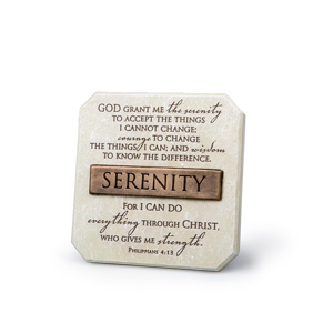 Bronze Title Bar Cast Stone Plaque- Serenity (Phil 4-13)