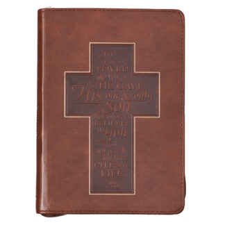 John 3-16 Cross Zippered Classic LuxLeather Journal