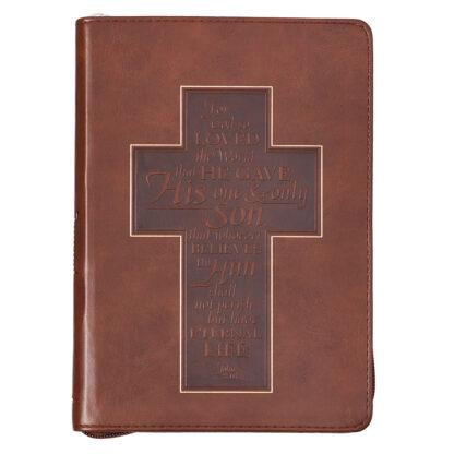 John 3-16 Cross Zippered Classic LuxLeather Journal