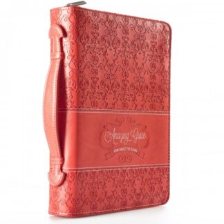 Bible Cover Amazing Grace Coral Medium Fashion Debossed Luxleather