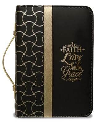 Faith Bible Cover, Black and Gold, Medium